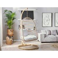 Hanging Swing Chair Beige Boho Rope Metal Stand Chain Soft Cushion ALLERA