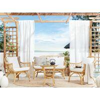 Rattan Indoor Outdoor Sofa Set 2 Armchairs Coffee Table White Cushions Sibari