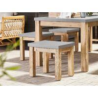 Outdoor Garden Stool Grey Fibre Cement Seat Light Acacia Wood Base Ostuni
