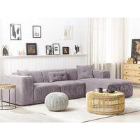 Modern Fabric Corner Sofa Corduroy Extra Scatter Cushions Grey Dolva
