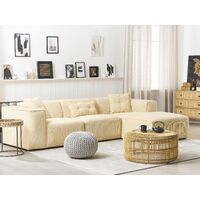Modern Fabric Corner Sofa Corduroy Extra Scatter Cushions Sand Beige Dolva