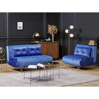 Glam Living Room Velvet Sofa Bed Set 3 Seater Navy Blue Fabric with Cushions Vestfold