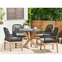 Outdoor Garden Dining Set Fibre Concrete Round Dining Table 4 Black Chairs Olbia