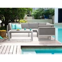 Modern Outdoor Lounge Set with Coffee Table White Aluminium Castella