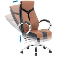 Modern Office Desk Chair Faux Leather Swivel Brown and Black Formula 1