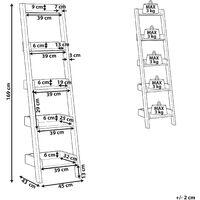 Modern Ladder Shelf 4 Tiers Leaning Bookcase Dark Wood Mobile Duo