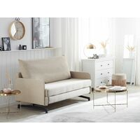 Pull Out Fabric Sofa Bed Polyester Reclining Stainless Steel Beige Belfast