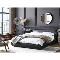 Waterbed Set Leather Upholstered Frame EU Super King 6ft Mattress Black Avignon