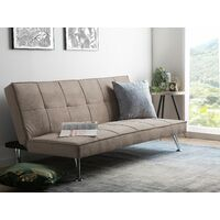 Modern Fabric Sofa Bed Polyester Reclining Convertible Solid Wood Beige Hasle