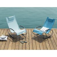 Modern Outdoor Rocking Sun Lounger Turquoise Fabric Campo