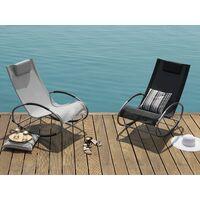Modern Outdoor Rocking Sun Lounger Black Fabric Campo
