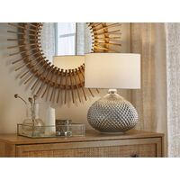 Glam Table Lamp Glass Studded Oval Base Round Fabric Shade Silver Madon