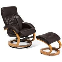 Faux Leather Recliner Chair with Footstool Massage Heated Swivel Brown Force