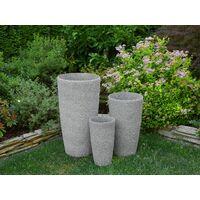 Plant Pot Planter Stone Fiberglass Natural Raw Garden Patio Grey Small Abdera