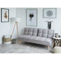 Sofa Bed Modern Light Grey Fabric Armless Click Clack Living Room Siljan