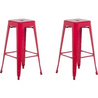 Set of 2 Modern Dining Room Living Room Metal Bar Stools 76 cm Red Cabrillo