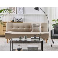 Modern Sofa Bed 3 Seater Reclining Backrest Beige Fabric Living Room Alsten