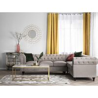 Left Hand Corner Sofa L-Shaped Button Tufted 5 Seater Beige Fabric Chesterfield