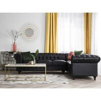 Left Hand Corner Sofa L-Shaped Button Tufted 5 Seater Black PU Chesterfield