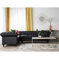 Right Hand Corner Sofa L-Shaped Button Tufted 5 Seater Black PU Leather Chesterfield