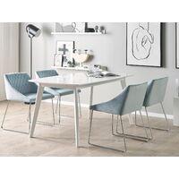 Set of 2 Velvet Dining Chair Retro Metal Sled Base Living Room Light Blue Arcata