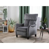 Vintage Fabric Recliner Chair Manual Grey Polyester 3 Positions Royston
