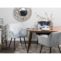 Set of 2 Velvet Dining Chair Retro Metal Legs Living Room Pastel Grey Jasmin