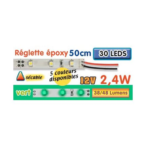 Réglette LED époxy 50 cm 2W4 12V jaune