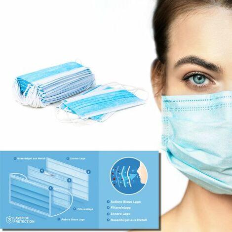 100 St Mund und Nasenschutz Maske 3 Lagig