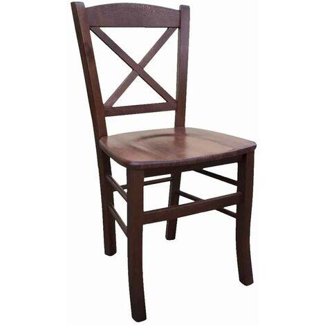 Sedia In Legno Paesana Croce Noce Scuro Con Seduta In Legno Massello