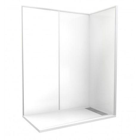 CAREA - Cabine de douche 'Espace Douche' 160x90 cm blanc uni lisse - Couleur - Blanc - Blanc