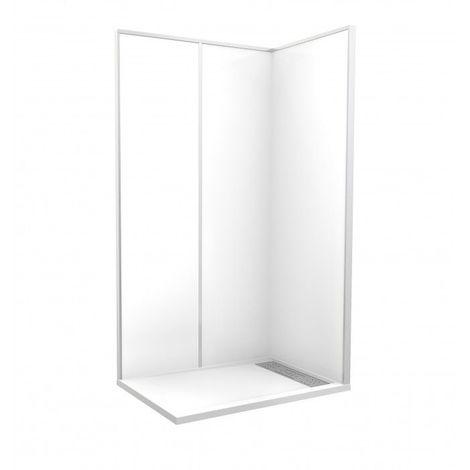 CAREA - Cabine de douche 'Espace Douche' 120x80x249,5 cm blanc uni lisse - Couleur - Blanc - Blanc