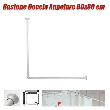 Vetrineinrete/® Bastone per Tenda Doccia Universale Regolabile angolare con aste 80 cm Argento Asta per Tende P17