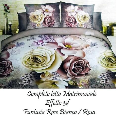 Completo Letto 3d Lenzuola Matrimoniale Sotto Sopra Copricuscini Rose Colorate
