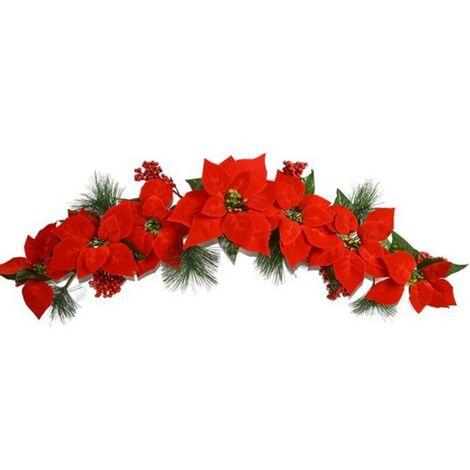 Decorazioni Natalizie Con Foto.Ghirlanda Natalizia Con Stella Di Natale 5 Fiori Decorazioni Natalizie Casa