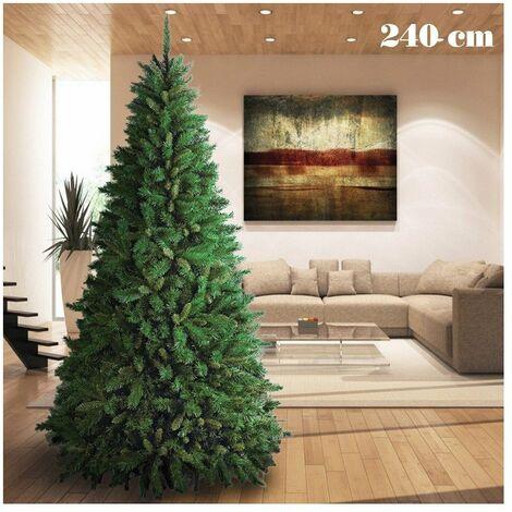 Albero Di Natale 240 Cm.Albero Di Natale 240cm Super Folto 1516 Rami Pino Verde Base A Croce 11387