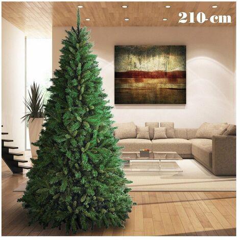 Albero Di Natale 210.Albero Di Natale 210cm Super Folto 1078 Rami Pino Verde Base A Croce 11391