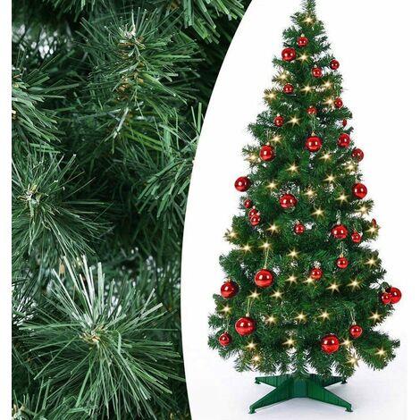 Albero Di Natale Addobbato Foto.Albero Di Natale Pop Up 150cm Con Luci Led 50x Bianco Caldo E Palline Rosse 11424