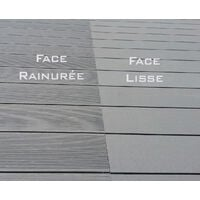 Lames terrasse composite gris. 2.60m - Garantie 7 ans - réversibles - Couleur Gris clair
