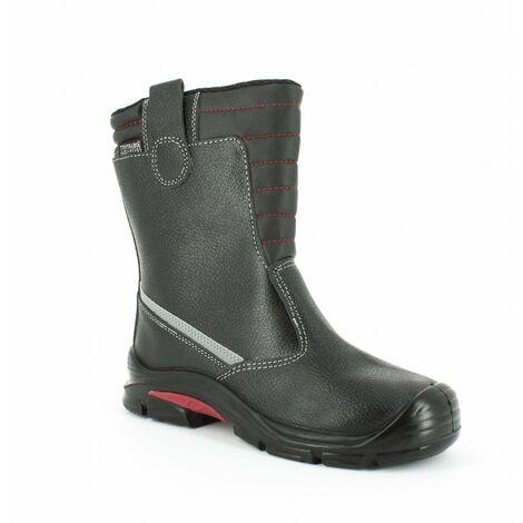 Foxter - Chaussures de sécurité | Hommes | Montantes | Légères et Respirantes | Imperméable | Sans métal | Cuir Noir | S3 SRC CI 43 Noir - Noir