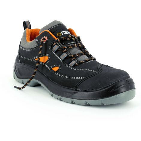 Foxter - Chaussures de sécurité | Hommes | Basses | Baskets de Travail | Légères | Imperméable | Sans métal | Cuir Noir | S3 SRC 47 Noir - Noir