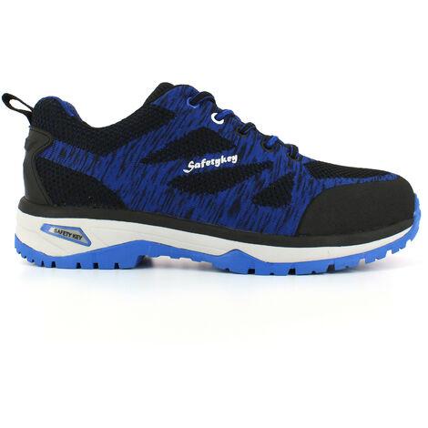Foxter - Chaussures de sécurité | Hommes | Basses | Baskets de Travail | Légères et Respirantes | SafetyKey : Grand Confort | S1P SRC HRO 47 Bleu - Bleu