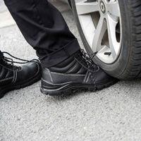 Foxter - Chaussures de sécurité | Mixte : Hommes et Femmes | Montantes | Respirantes | Imperméable | Cuir Noir | S3 SRC 47 Noir - Noir