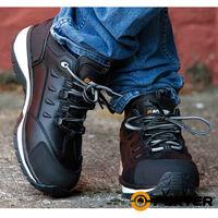 Foxter - Chaussures de sécurité   Hommes   Basses   Baskets de Travail   Légères et Respirantes   SafetyKey : Grand Confort   Imperméable   Cuir Noir   S3 SRC HRO 45 Noir - Noir