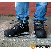 Foxter - Chaussures de sécurité   Hommes   Basses   Baskets de Travail   Légères et Respirantes   SafetyKey : Grand Confort   Imperméable   Cuir Noir   S3 SRC HRO 46 Noir - Noir