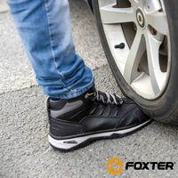 Foxter - Chaussures de sécurité | Hommes | Montantes | Baskets de Travail | Légères et Respirantes | SafetyKey : Grand Confort | Imperméable | Cuir Noir | S3 SRC HRO 47 Noir - Noir