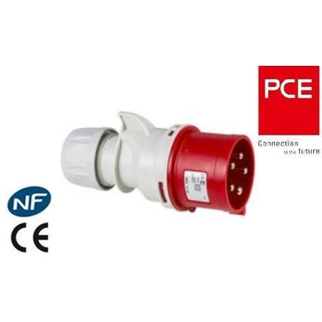 Fiche prise mâle CEE 5x32A - triphasé - 5 Pôles IP 44 marque PCE