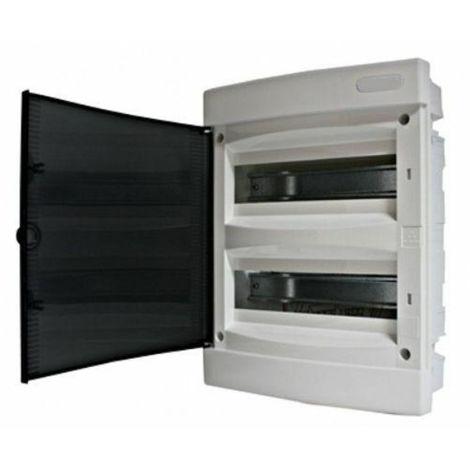 Coffret électrique encastré 24 modules 2 rangées avec porte translucide teintée
