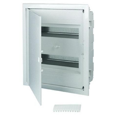 Coffret électrique encastré 24 modules 2 rangées avec porte pleine couleur blanc