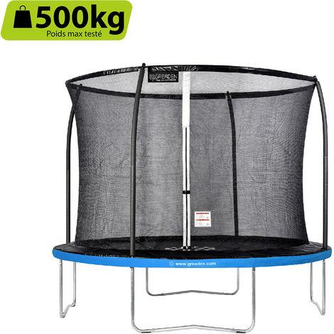 GREADEN Trampoline de jardin Freestyle Bleu 305 fitness extérieur Ø 305cm - Filet de sécurité/coussin de protection/tapis de saut